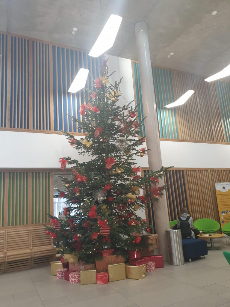 Christmas tree at Newman University