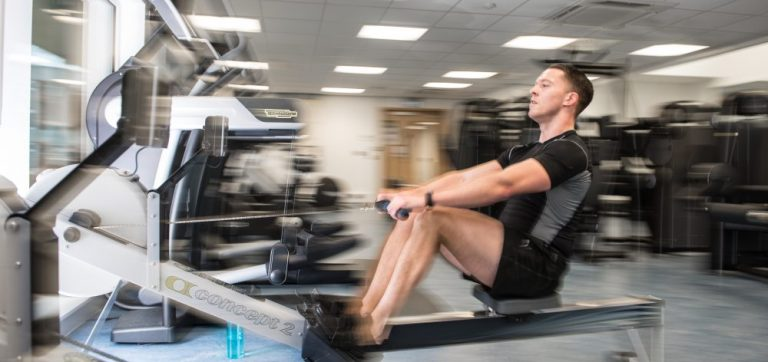 man on the rowing machine